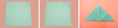 1. Składamy kwadratową kartkę papieru jak to pokazano na obrazku