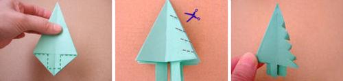 4. Wycinamy drzewko wzdłuż przerywanej linii i robimy z każdej strony nacięcia