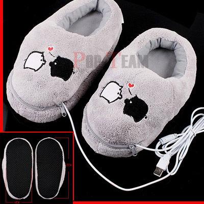Kapcie w stylu Geek - Podgrzewane Plush USB Foot Warmer Shoes Electric Heat Slipper