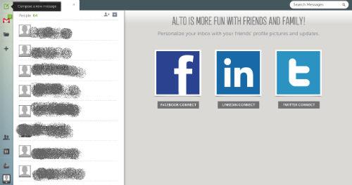 możliwość połączenia Alto z Facebookiem, LinkedInem oraz Twitterem