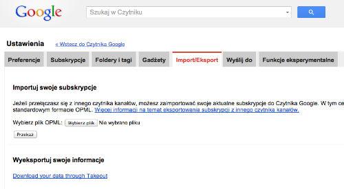 Jak wyeksportować kanały RSS z Czytnika Google