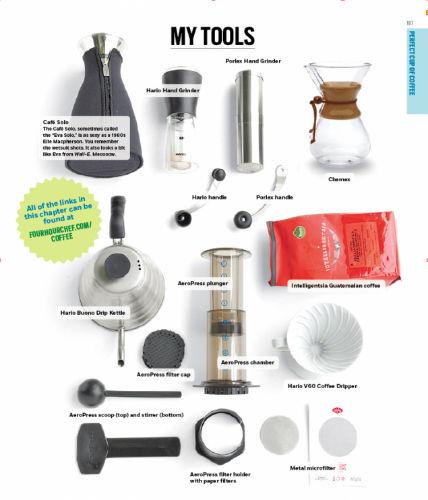 Na zdjęciu - kawowe narzędzia Tima Ferrisa