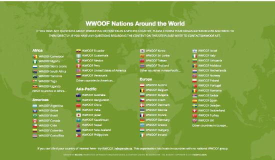 Geografia WWOOF (wolontariat na farmach ekologicznych)