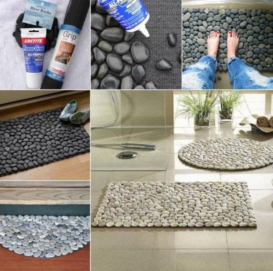 DIY dywanik z kamieni morskich jak stworzyć baza gumowa kamienie i klej