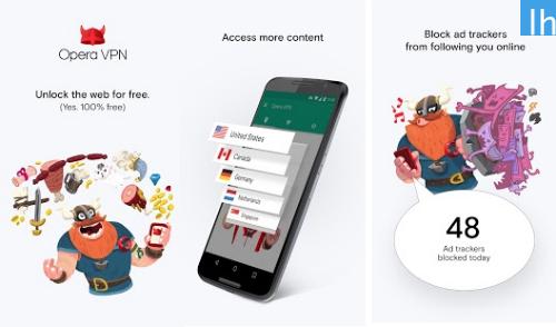 Aplikacja Opera Free VPN na Android (Sklep Google Play)