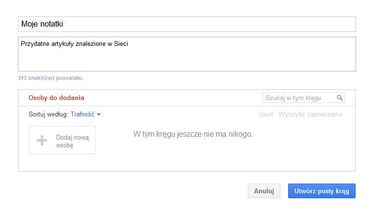 Moje-notatki-Google-plus-Utworz-pusty-krag